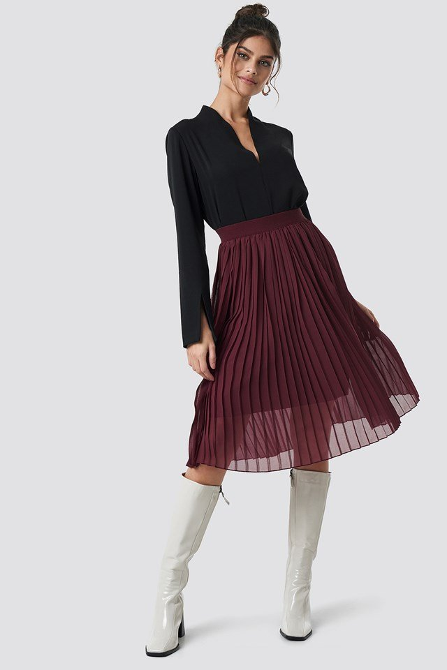 Midi Pleated Skirt Dark Red