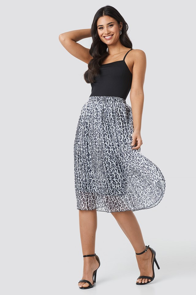 Midi Pleated Skirt Black/Leopard