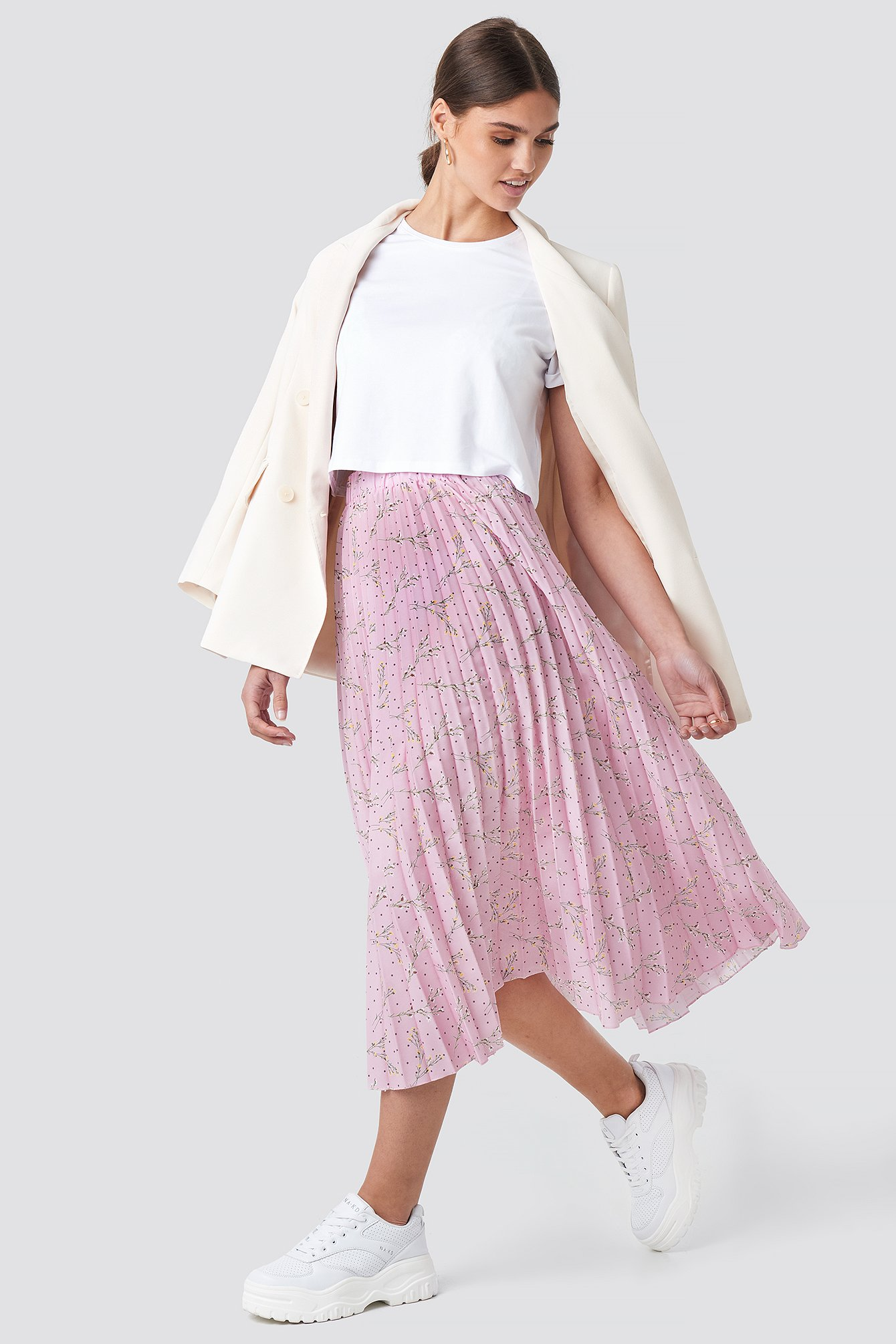 Pink Flower Midi Pleated Skirt