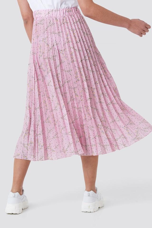 Midi Pleated Skirt Pink Flower