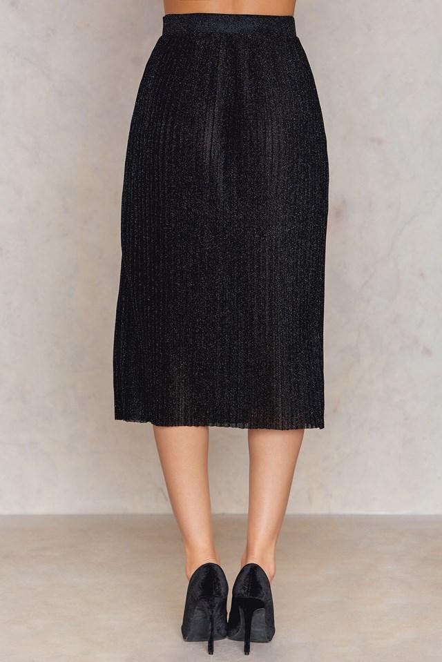 Midi Pleated Sparkle Skirt Black