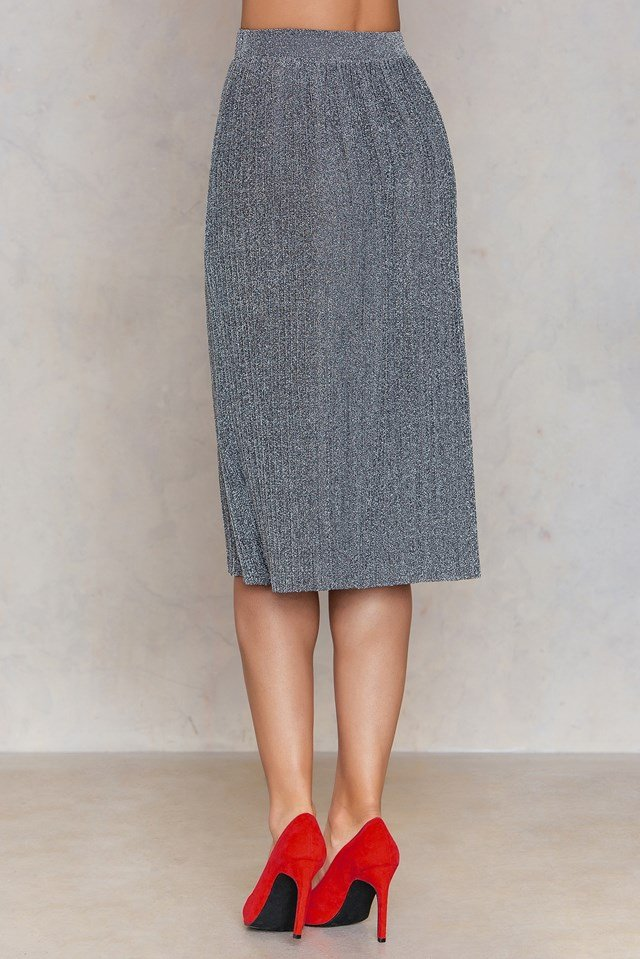 Midi Pleated Sparkle Skirt Silver