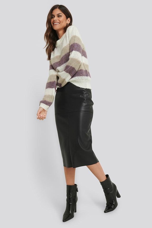 Midi PU Skirt Black