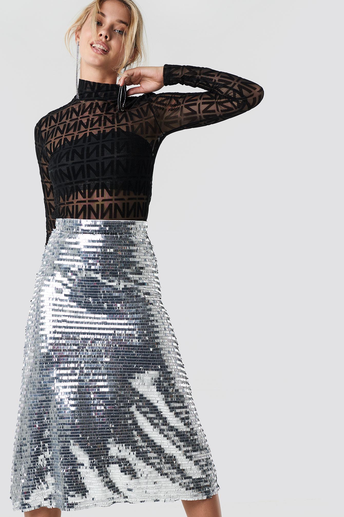 Midi Sequins Skirt NA-KD.COM