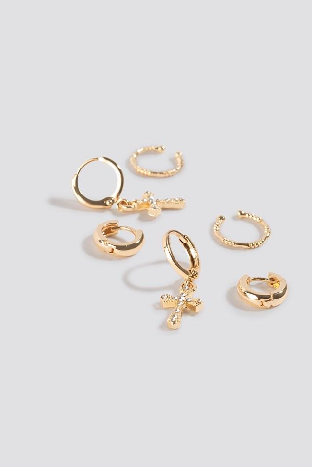 Mini Cross Earring Set Gold
