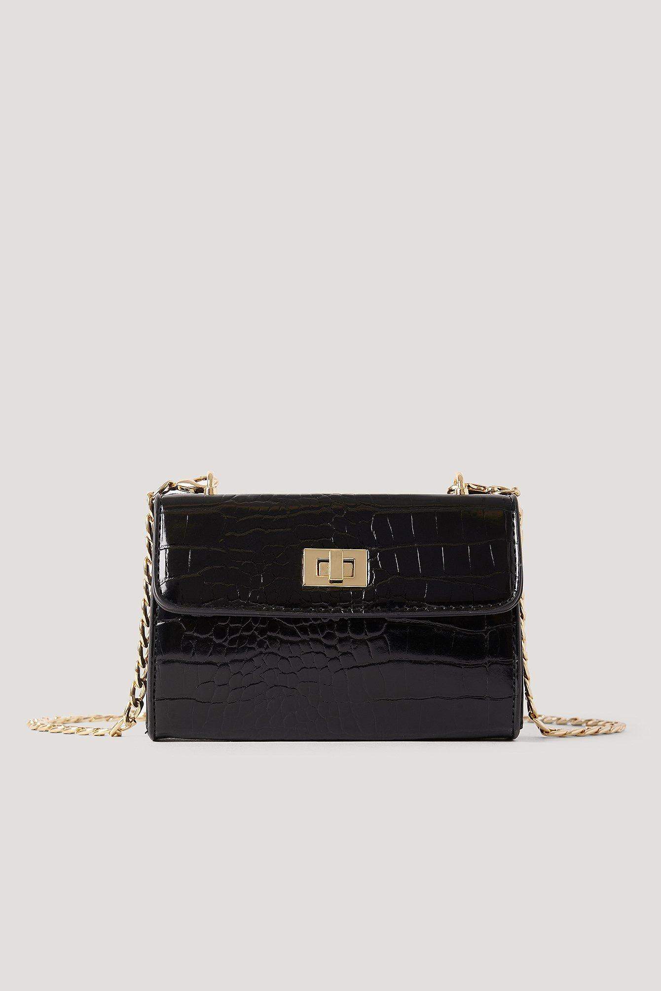 NA-KD Accessories Croc-Tasche Mit Kettendetail - Black   Taschen > Handtaschen > Sonstige Handtaschen   NA-KD Accessories
