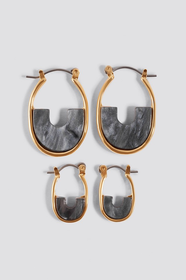 Mini Filled Hoop Earrings (Multi Pack) Grey
