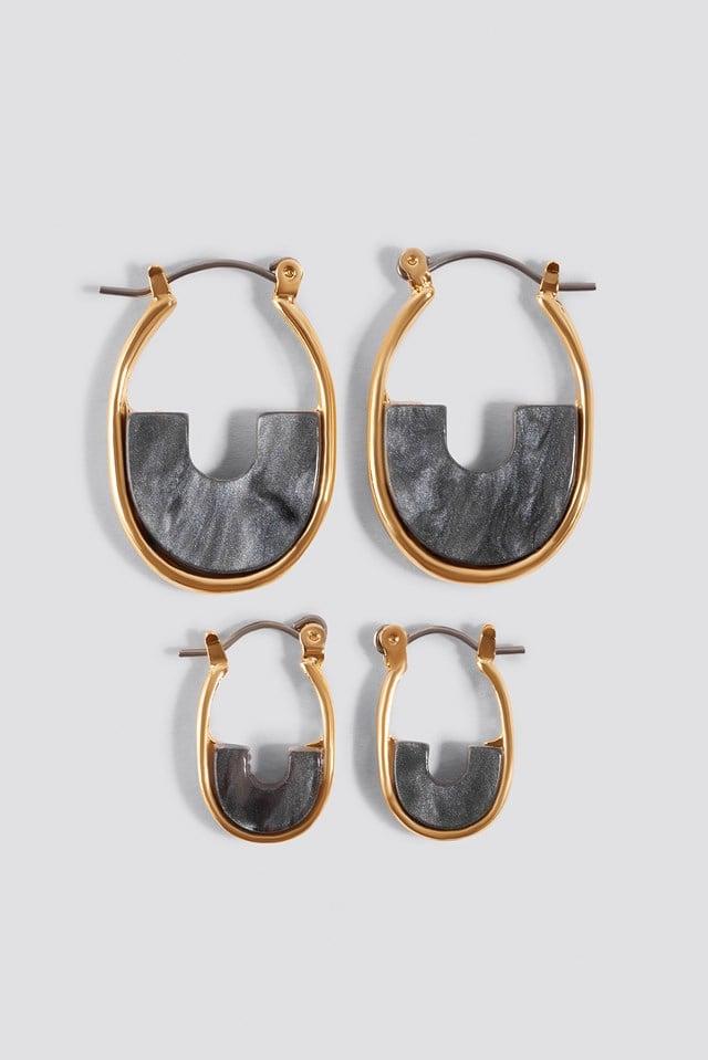 Mini Filled Hoop Earrings (Multi Pack) Grey