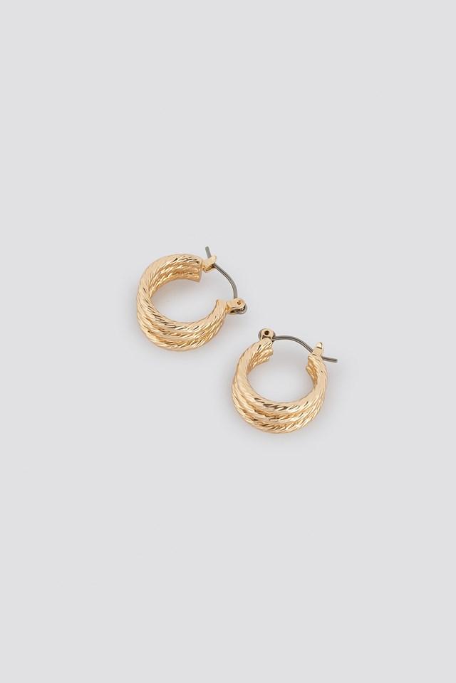 Mini Layered Hoop Earrings Gold
