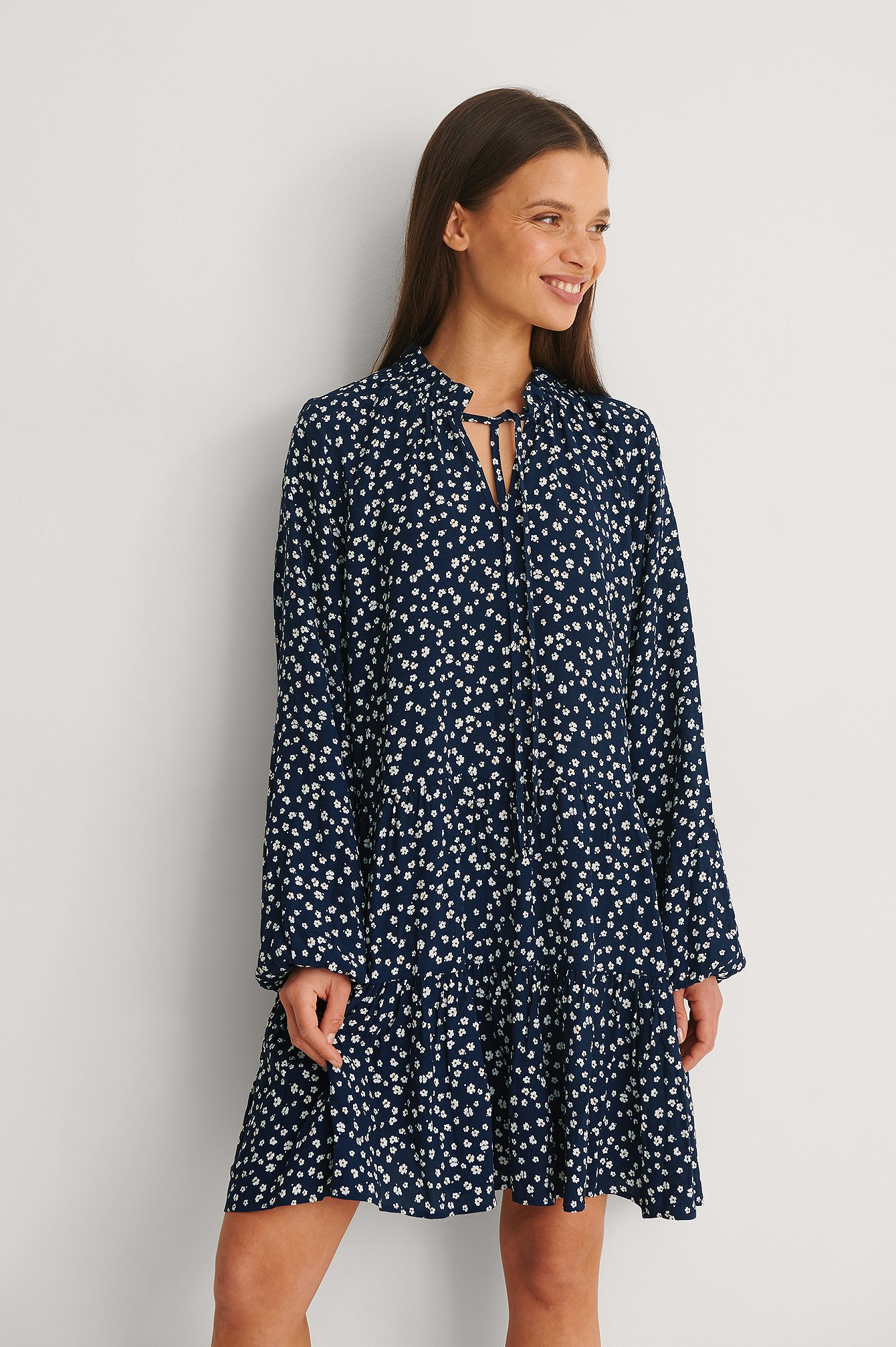 Blue Print Mini LS Dress