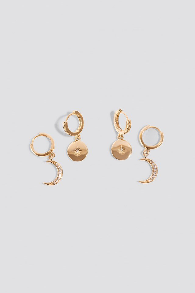 Mini Moon And Star Pendant Earrings Gold