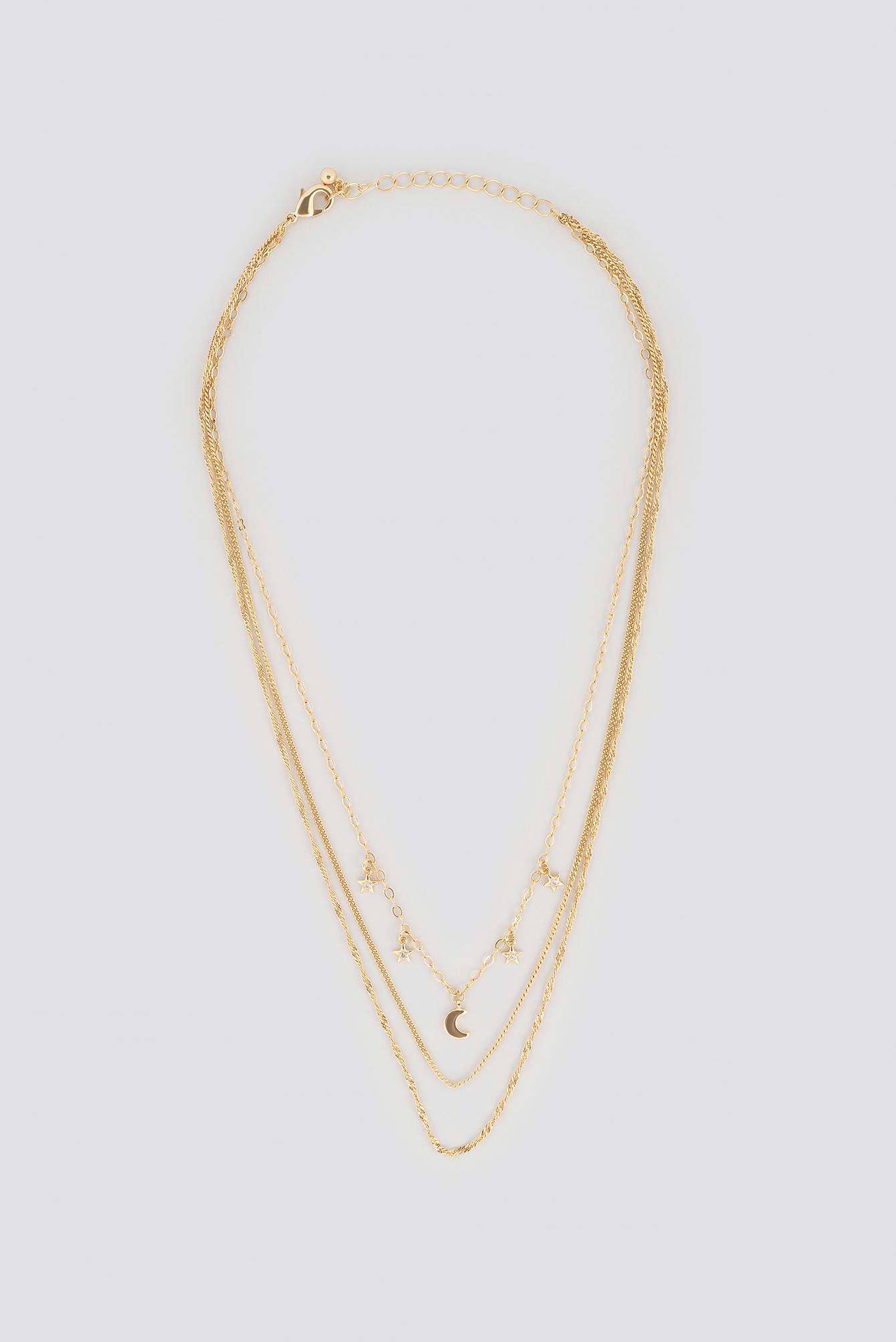 Na-Kd Mini Moon Star Layered Necklace Gold