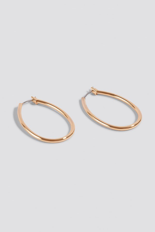 Mini Oval Hoop Earrings Gold
