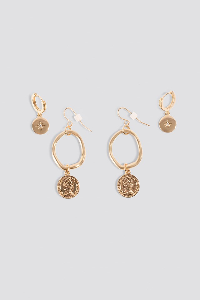 Mini Pendant Coin Earrings (2-pack) Gold