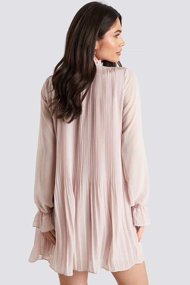 Mini Pleated Dress Light Beige