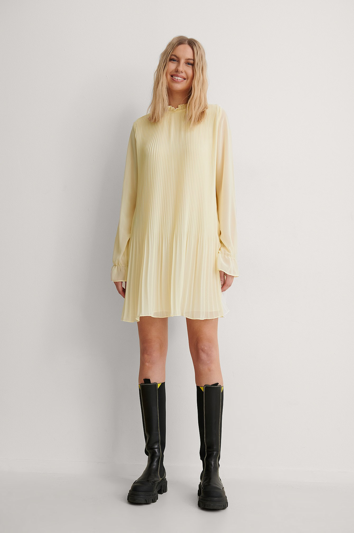 Light Yellow Mini Pleated Dress