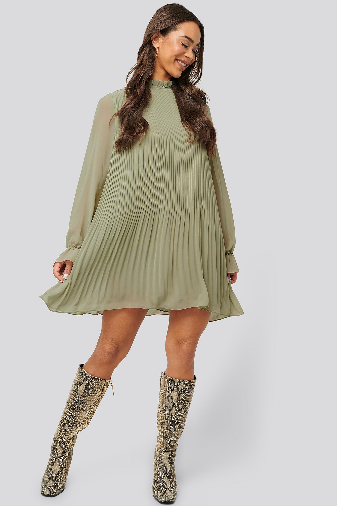 na-kd -  Plissiertes Minikleid - Green