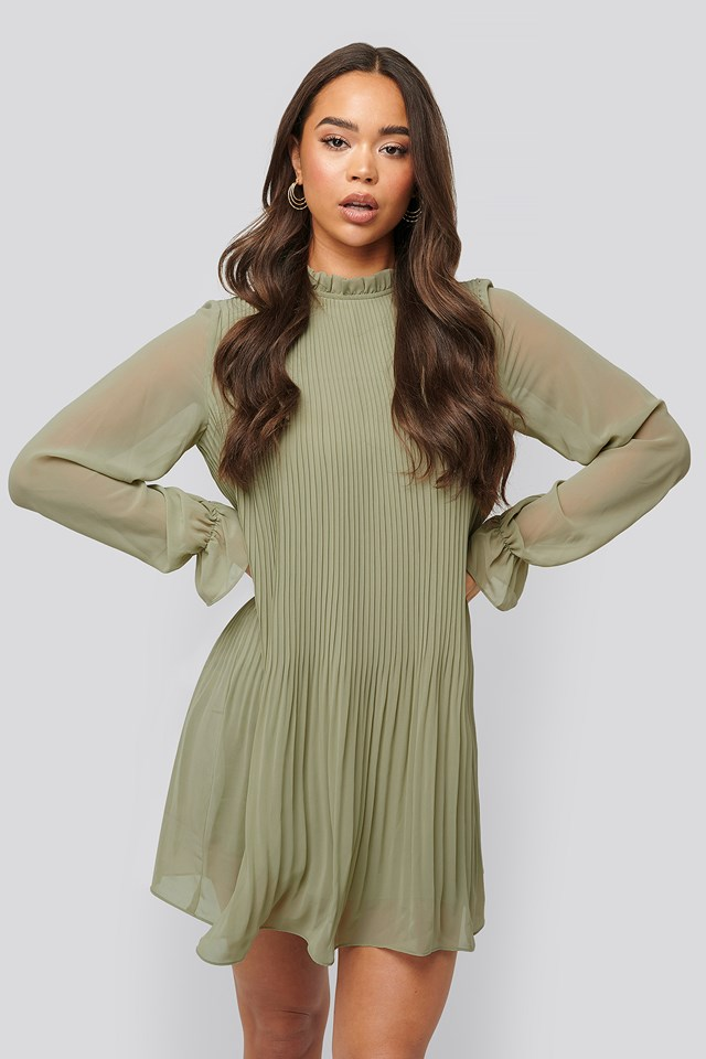 Mini Pleated Dress Light Khaki