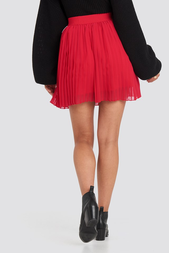 Mini Pleated Skirt Red