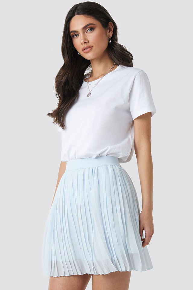 Mini Pleated Skirt Pale Blue