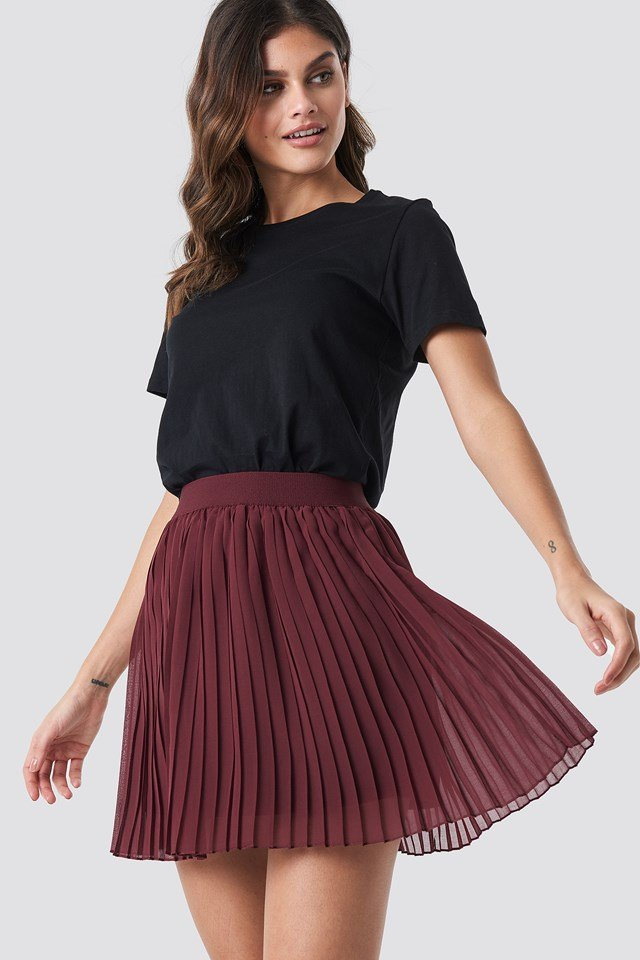 Mini Pleated Skirt Dark Red
