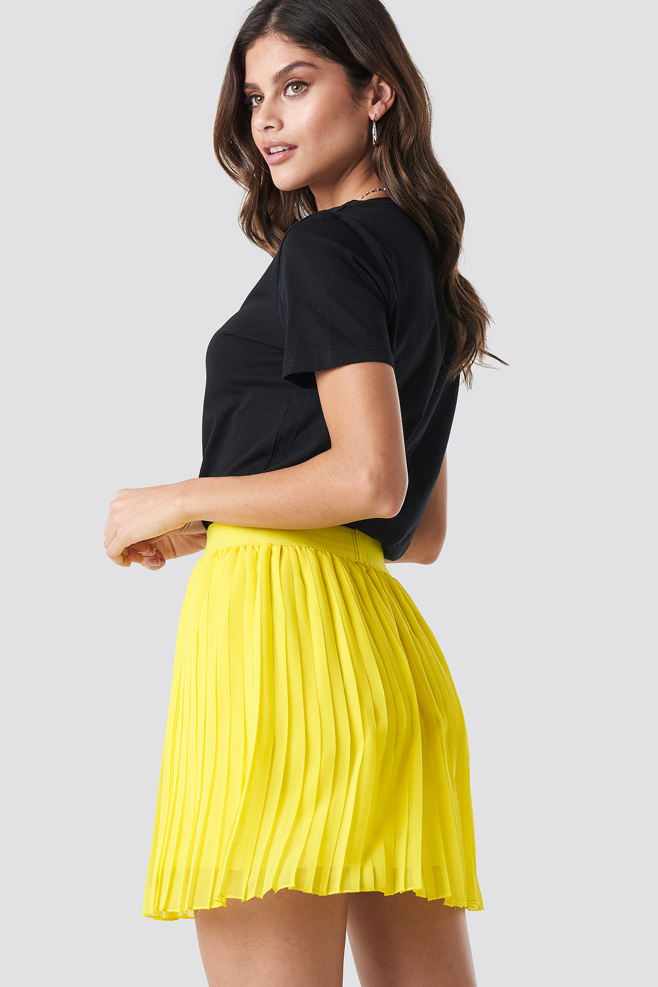 Yellow Mini Pleated Skirt