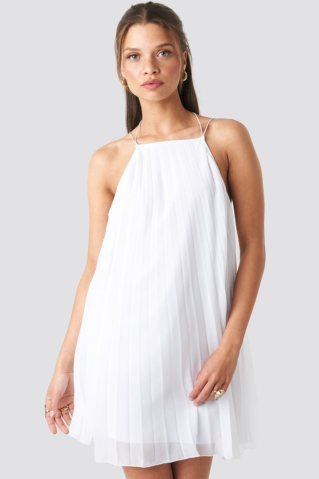 Mini Pleated Trapeze Dress White
