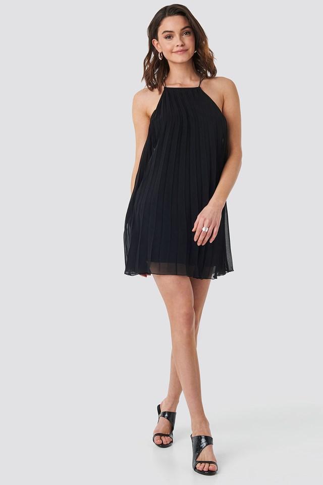 Mini Pleated Trapeze Dress Black