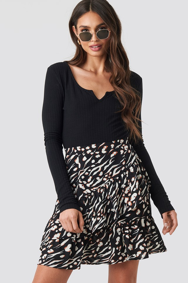 Mini Printed Flounce Skirt Black Print