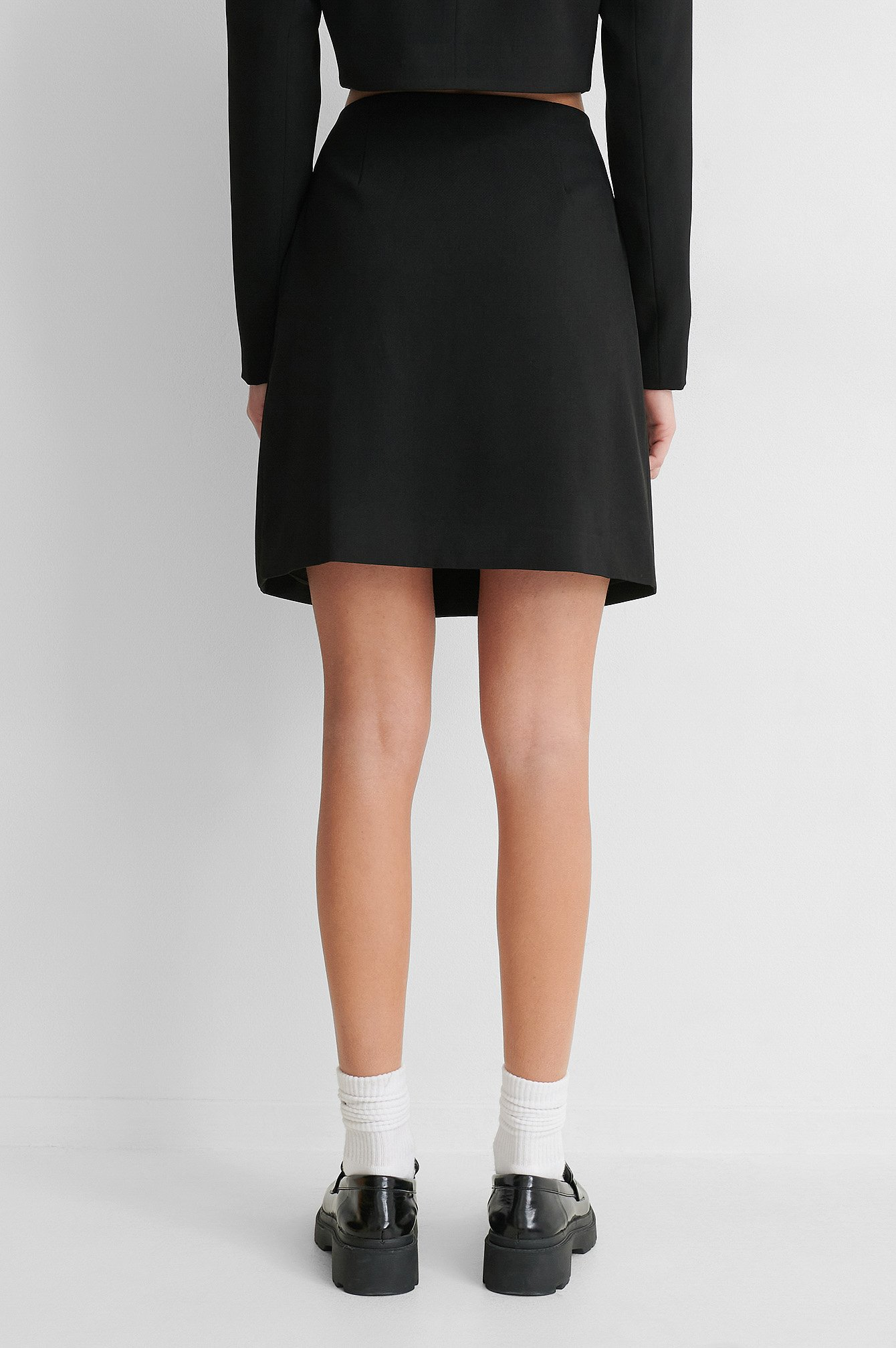 Black Mini Satin Detail Skirt