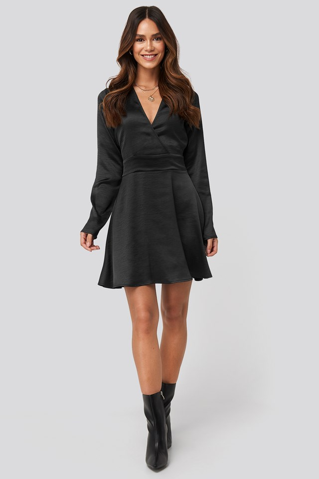 Mini Satin Dress Black