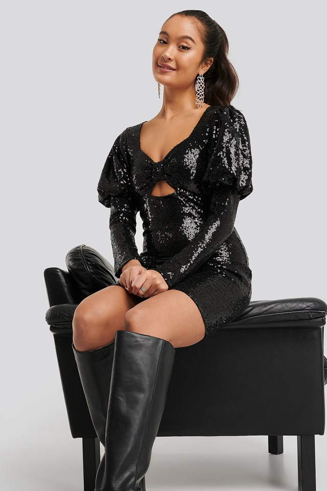 Mini Sequined Dress Black