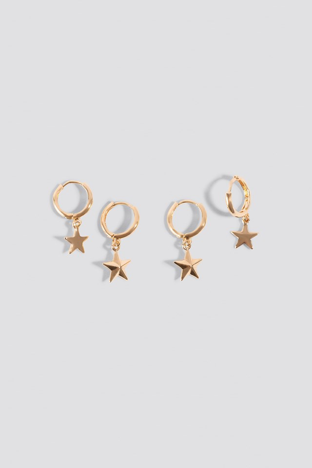Mini Star Pendant Earrings (2-pack) Gold