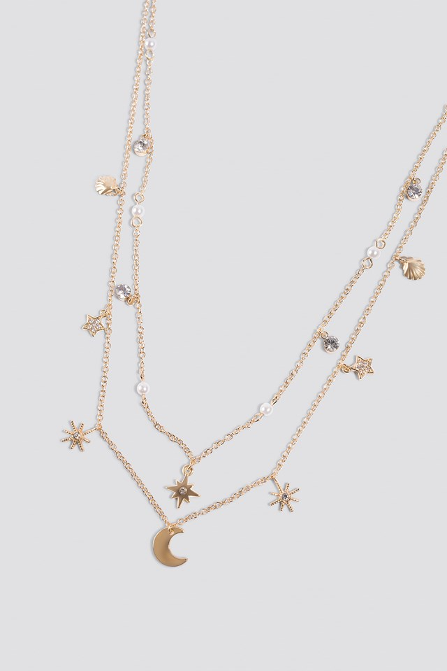 Mini Stars and Moon Necklace Gold