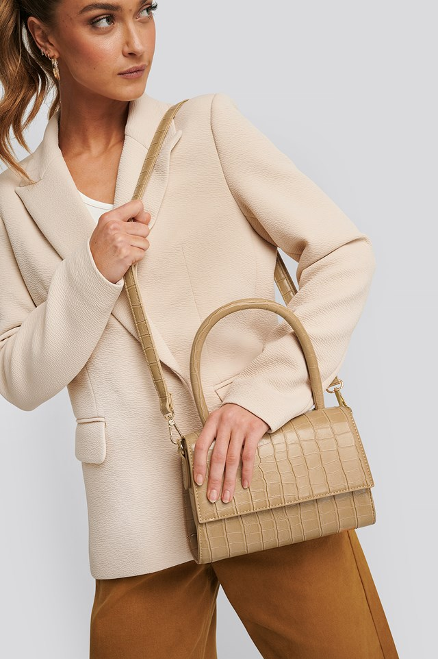 Mini Top Handle Flap Bag Light Beige