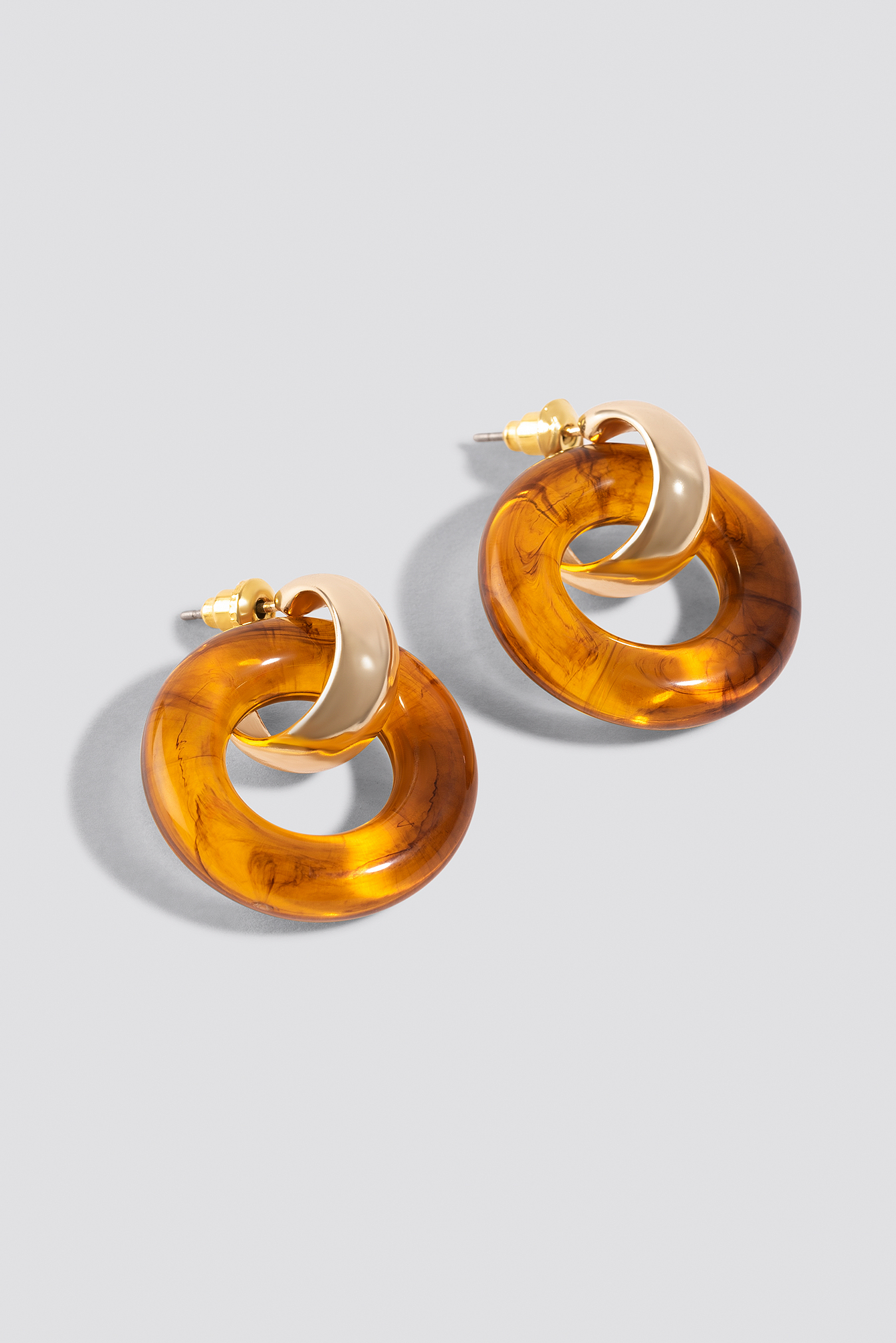 Gold Mini Tortoise Ring Earrings