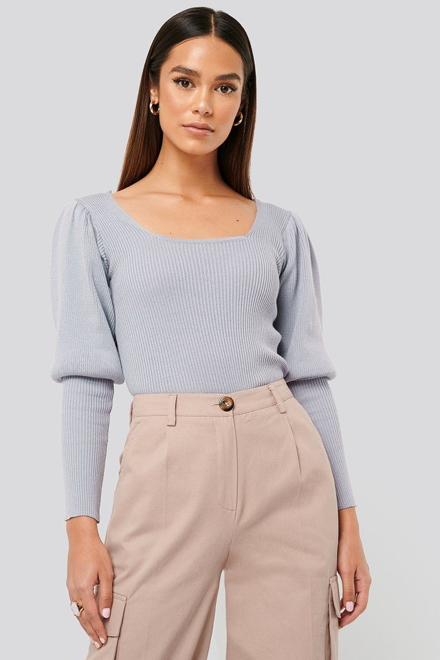 Puff Sleeve Knitted Top Cloud Grey