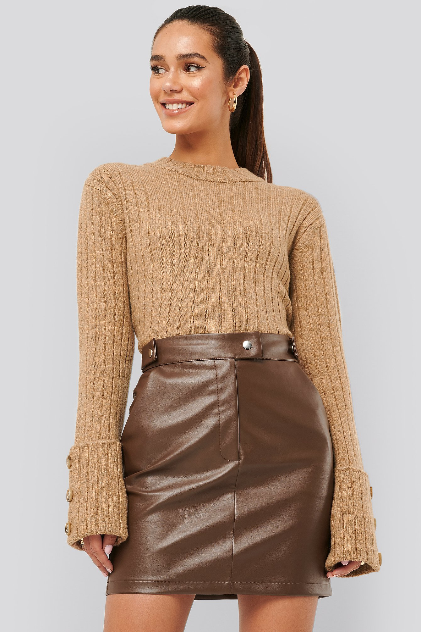 Misslisibell x NA-KD Folded Sleeve Knitted Sweater - Beige
