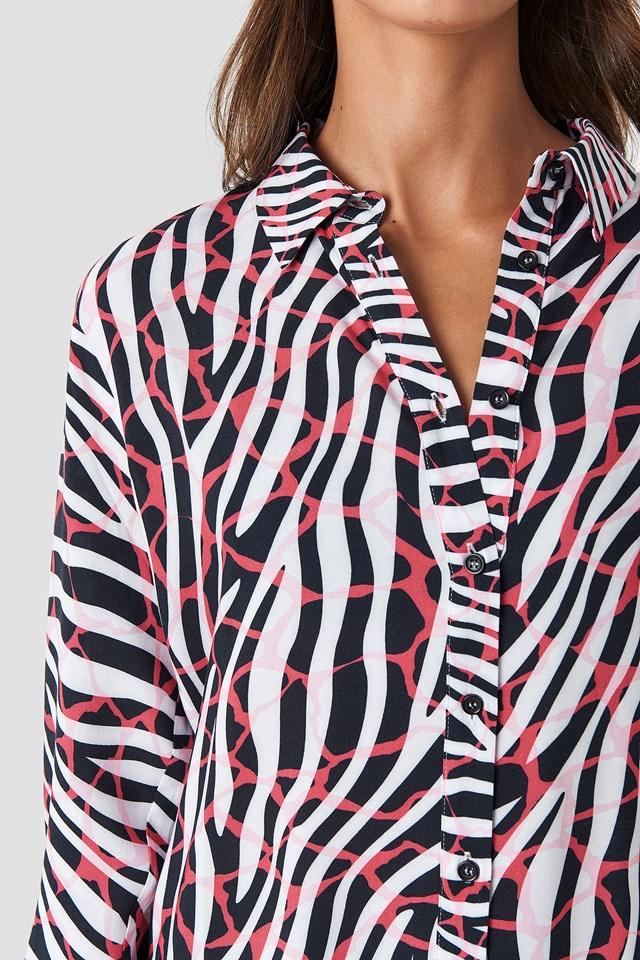 Mix Zebra Oversized Shirt Animal Print