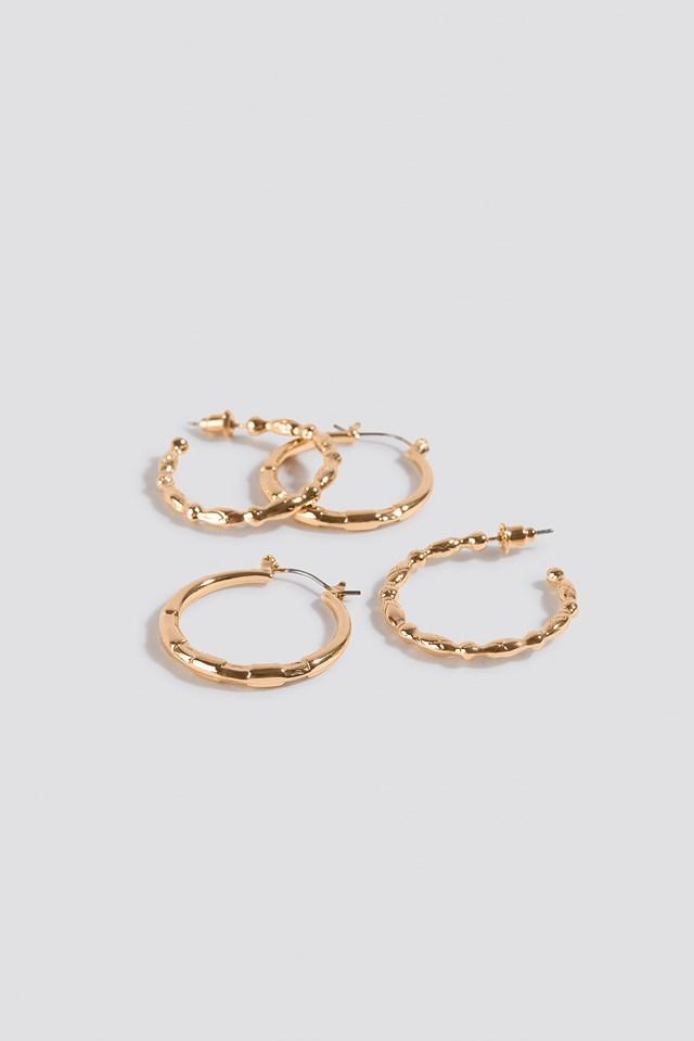 Mixed Detailed Hoop Earrings Gold