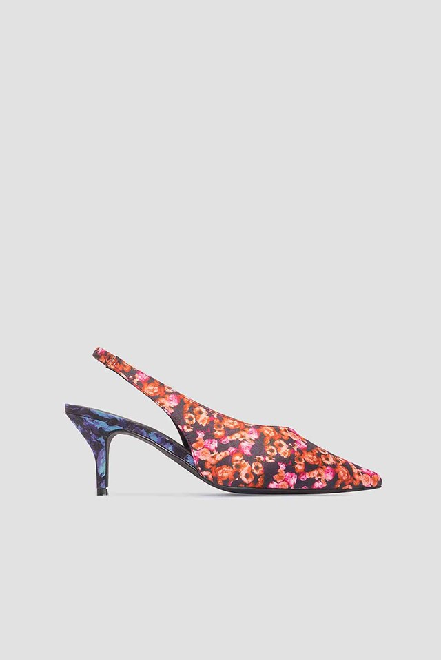 Mixed Prints Kitten Heel Pumps Orange/Pink