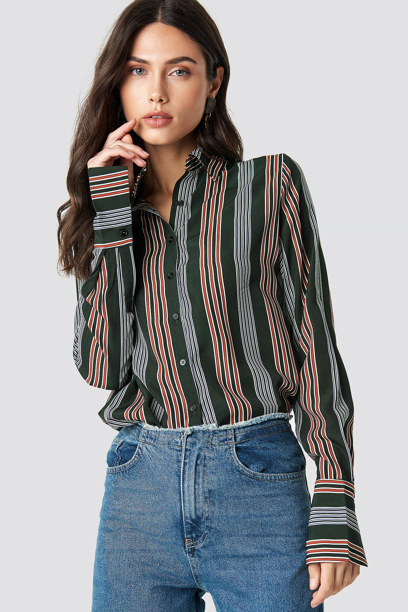 na-kd -  Mixed Stripes Shirt - Green