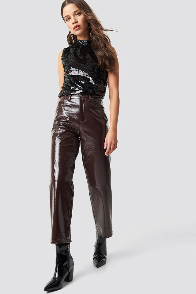 Mock Neck Sequins Top Black
