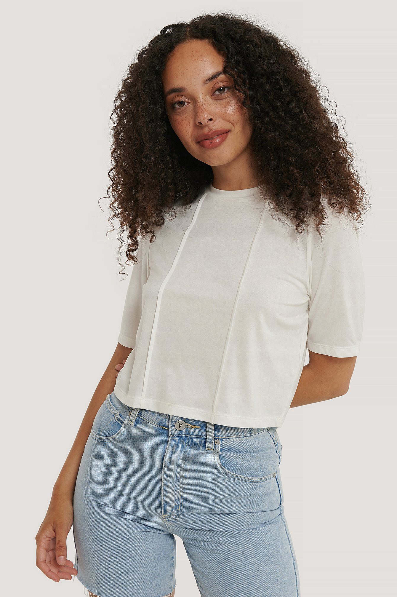 White Modal Short Sleeve Top