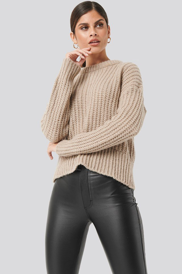 Mohair Blend Chunky Ribbed Sweater NA-KD