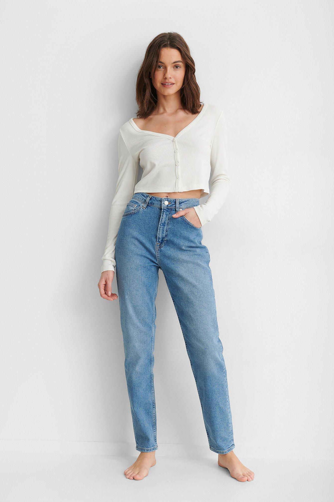 NA-KD Reborn Økologiske Mom Jeans - Blue