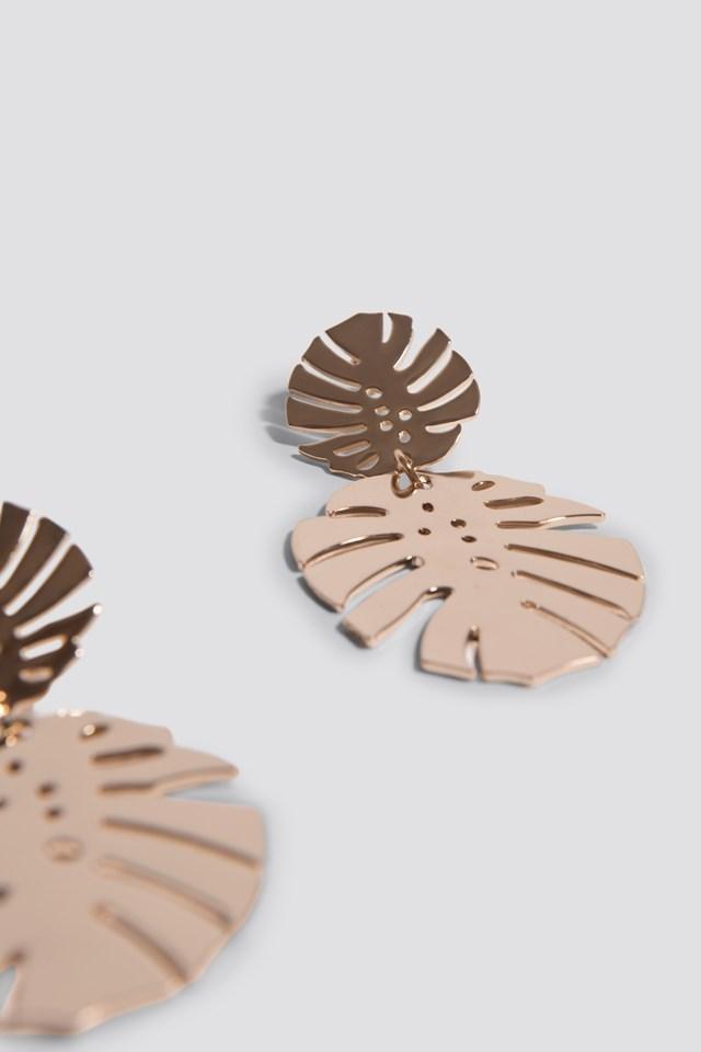 Monstera Leaves Earrings Gold