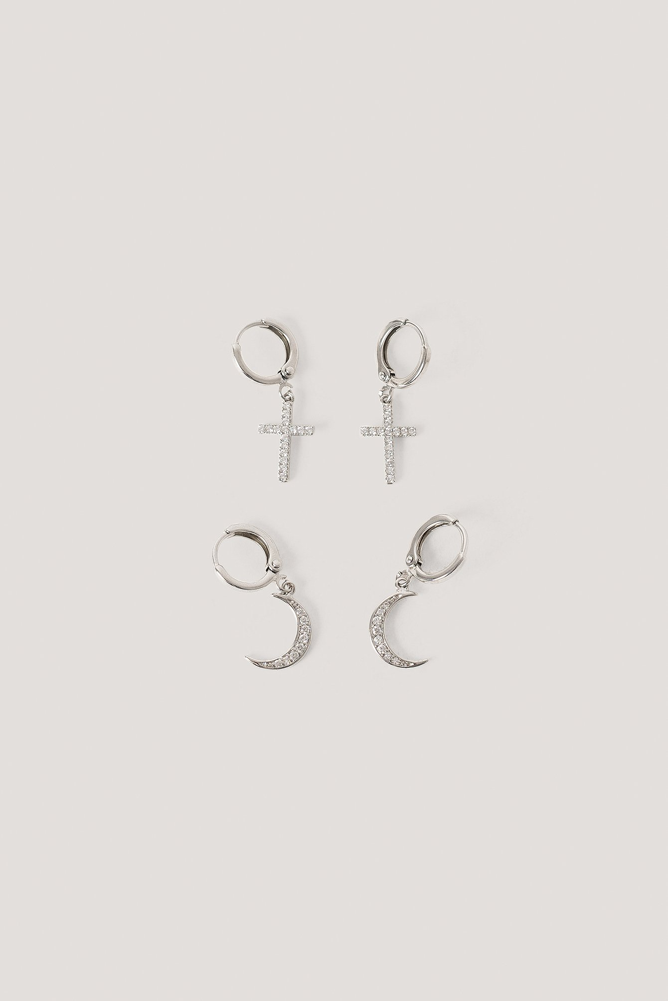 Silver Moon Cross Earrings