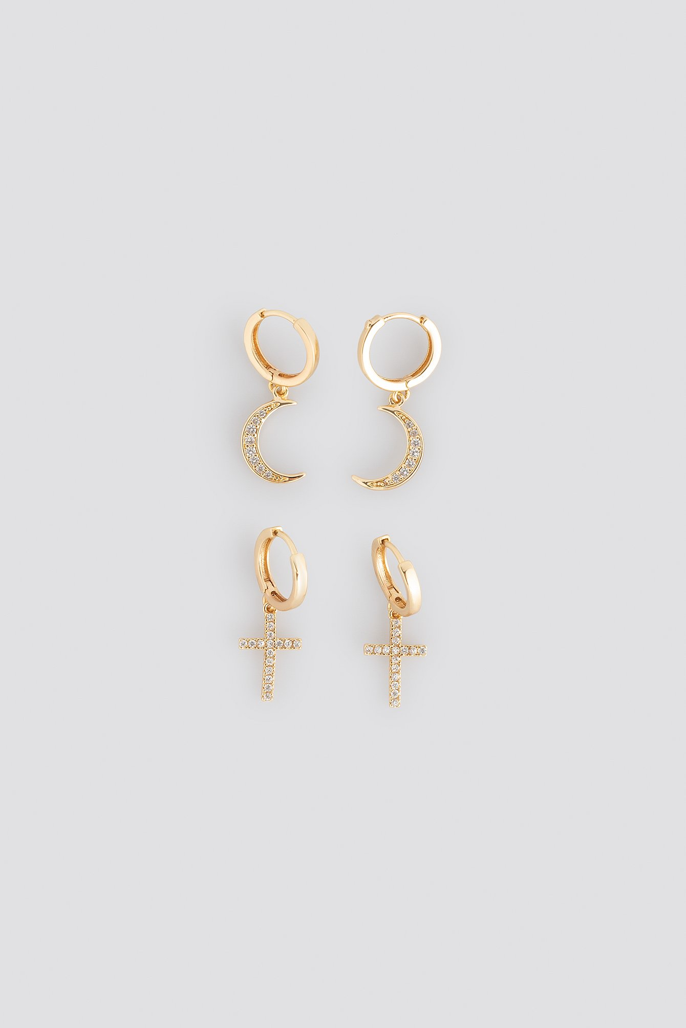 Gold Moon Cross Earrings