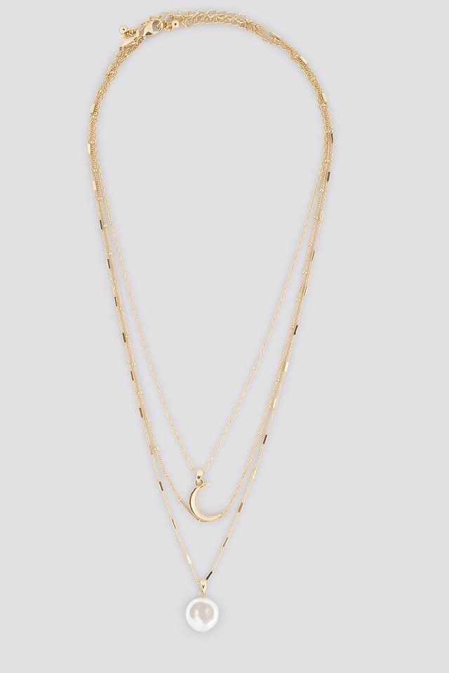 Moon Pearl Layered Necklace NA-KD.COM